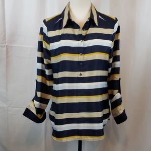 Ann Taylor striped long sleeve Petite small blouse